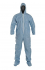 DuPont ProShield 6 SFR Coverall. Standard Fit Hood. Elastic Wrists. Attached Socks. Serged Seams. Blue, Packaged Individually. MD