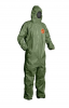 DuPont Tychem 2000 SFR Coverall. Attached Hood (Respirator Fit). Front Zipper Closure. Chin Flap. Storm Flap. Elastic Ankles. Elastic Waist. Elastic Wrists. Taped Seams. Green. LG