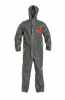 DuPont Tychem 6000 FR Coverall. Respirator Fit, Drawstring Hood. Elastic Wrists. Open Ankles. Double Storm Flap with Hook & Loop Closure. Taped Seams. Gray, Berry Amendment compliant. SM