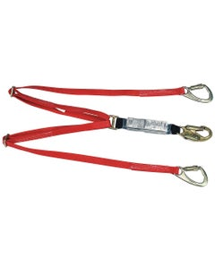 MSA 10047085 FP5K Energy-Absorbing Twin-Leg Web Lanyard with 6' Length, Tieback Version, 36C Snaphook & FP5K Snaphook