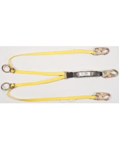 MSA 10113162 Workman Twin-Leg Energy-Absorbing Lanyard with 6' Length, Tieback Version & 36C Snaphook