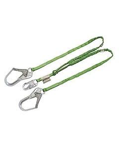 Miller Manyard HP Shock-Absorbing Lanyards (6' Double Leg with 1 Locking Snap Hook & 2 Locking Rebar Hooks), Green, ANSI Z359 Compliant