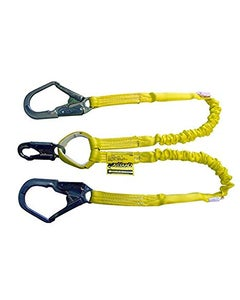 Miller Manyard Shock-Absorbing Lanyards (6' Double Leg with 1 Locking Snap Hook & 2 Locking Rebar Hooks), Yellow, ANSI Z359 Compliant